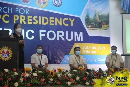 Public forum presents MPC Prexy Candidates written by: Jay Ar T. Taperla and Kim Alexandria M. Bernardo